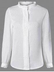 Ruffle Collar Flounce Sleeve Shirt - WHITE 2XL