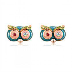 Pair of Rhinestone Cartoon Owl Earrings