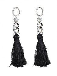 Statement Rhinestone Tassel Dangle Earrings