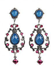 Bohemian Water Drop Rhinestone Earrings - BLUE