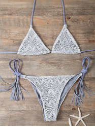 Halter Fringe High Cut Bikini - GRAY L