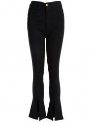 Boot Cut Front Slit Pants - BLACK