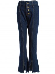 High Waisted Bell-Bottom Slit Frayed Hem Jeans