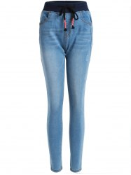 Drawstring effilochés Pencil Jeans - Denim Bleu