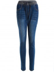 Patchwork Frayed Drawstring Jeans - CERULEAN