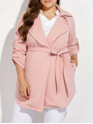 Plus Size Wrap Coat - PINK