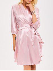 Layered Ruffle Slik Wrap Evening Dress -