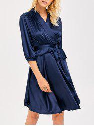 Layered Ruffle Slik Wrap Dress