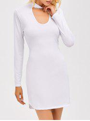 Short Tight Hollow Out Bodycon Dress - WHITE