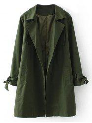Plus Size Open Front Tied Up Wrap Coat - ARMY GREEN