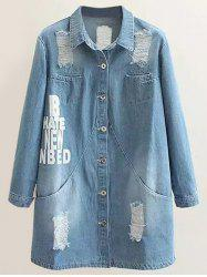 Plus Size Letter Print Distressed Denim Coat - LIGHT BLUE