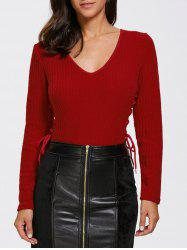 Knitted Lace Up Bodysuit -