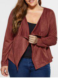 Plus Size Suede Coat - BROWN