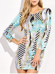 Long Sleeve Backless Print Club Dress - MULTICOLOR