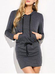 Mini Long Sleeve Hoodie Dress - GRAY S