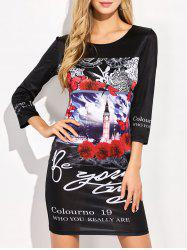 Floral Printed Fitted T-Shirt Mini Dress - BLACK M