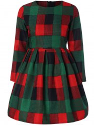 Long Sleeve Plaid Slimming Dress