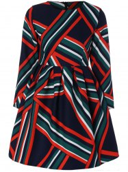 Striped Geometric Graphic A Line Dress