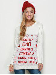 Letter Jacquard Crew Neck Christmas Sweater