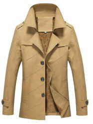 Button Front Pocket Epaulet Design Flocking Jacket