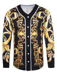 V Neck Button Front Baroque Jacket - BLACK 3XL
