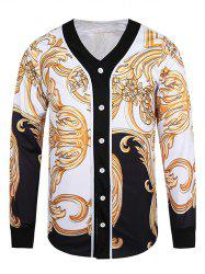 Button Front V Neck Ornate 3D Print Jacket