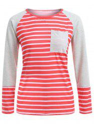 Stripe Raglan Sleeve Pocket T-Shirt -