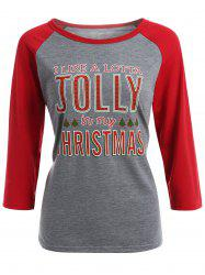 Jolly Letter Raglan Sleeve Christmas T-Shirt - GRAY XL