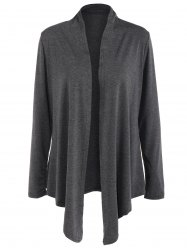 Collarless  Asymmetric Waterfall Cardigan