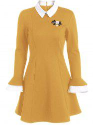 A Line Color Block Dress with Brooch - GINGER 2XL