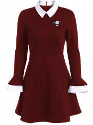 A Line Color Block Dress with Brooch