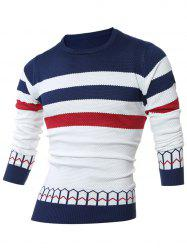 Striped Jacquard Crew Neck Pullover Sweater -