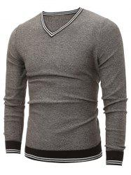 V Neck Striped Pullover Cricket Sweater