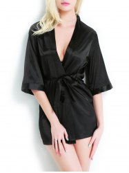 Open Front Tied Belt Satin Wrap Sleepwear - BLACK