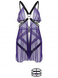 Criss-Cross Cut Out Sheer Babydoll