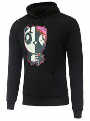 Hooded Long Sleeve Gloomy Bear Print Hoodie - BLACK 2XL