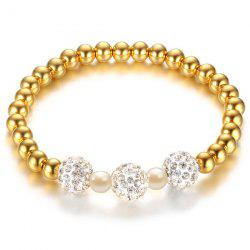 Stainless Steel Rhinestone Bead Polished Bracelet