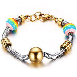 Stainless Steel Polished Beads Spring Chain Bracelet - GOLDEN
