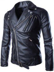 Turndown Collar Zippers Design PU Leather Jacket - BLACK