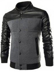 PU Leather Splicing Design Stand Collar Single Breasted Jacket - DEEP GRAY