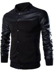 PU Leather Splicing Design Stand Collar Single Breasted Jacket - BLACK