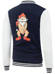 Stand Collar Bare Father Christmas Print Color Block Baseball Jacket