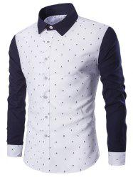 Turndown Collar Skull Print Color Block Spliced Shirt