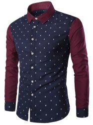 Turndown Collar Skull Print Color Block Spliced Shirt - CADETBLUE XL