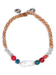 Natural Stone Braid Artificial Leather Bracelet - WHITE