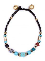Natural Stone Braid Artificial Leather Turquoise Bracelet