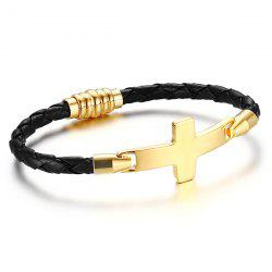 Artificial Leather Braid Crucifix Bracelet