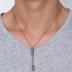 Cudgel Shape Embossed Pendant Necklace