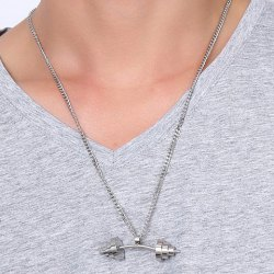 Dumbbell Shape Stainless Steel Pendant Necklace