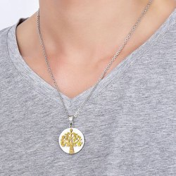 Polished Matte Finished Tree Pendant Necklace - GOLDEN